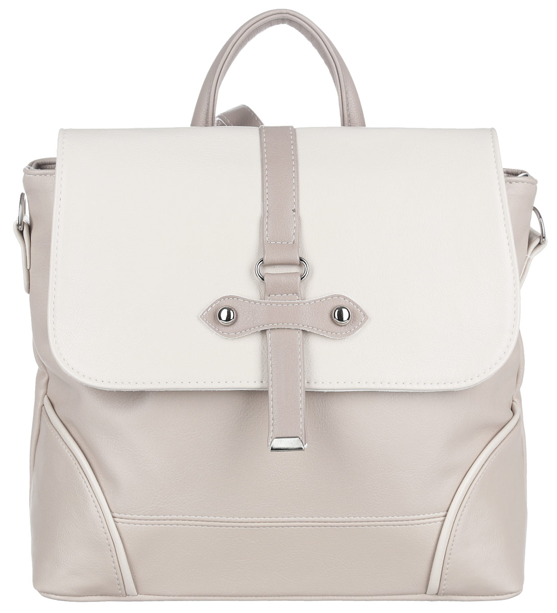 Сумка-рюкзак женская Flioraj, цвет: бежевый. 700-1 т579995-400Женская сумка-рюкзак Flioraj изготовлена из качественной искусственной кожи и декорирована клепками и ремешком. На задней стороне расположен карман на молнии. Сумку можно носить как рюкзак благодаря ремню, который крепится с помощью замка-карабина. Изделие оснащено плотным дном и закрывается клапаном на магнитную кнопку. Внутри находятся два главных отделения, которые разделены карманом на молнии. В одном отделении расположен карман на молнии, а в другом два небольших открытых кармана.Все отделения этой сумки расположены удобно, позволяя быстро находить нужные предметы, что важно для практичного и делового человека.Такая оригинальная и практичная сумка дополнит ваш образ и завершит его.