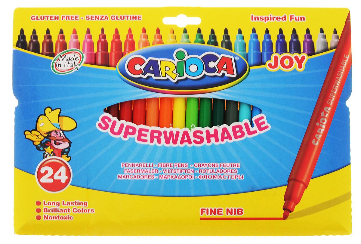 Фломастеры Carioca Joy отлично подойдут и для школьных занятий, и просто для рисования. Комплект включает в себя фломастеры 24 ярких насыщенных цветов в разноцветных пластиковых корпусах (цвет корпуса соответствует цвету чернил). Каждый фломастер оснащен плотным вентилируемым колпачком, надежно защищающим чернила от испарения. Наконечники фломастеров устойчивы к повышенному давлению и не разнашиваются со временем. Чернила фломастеров на водной основе не токсичны и абсолютно безопасны.  Фломастеры Carioca Joy - идеальный инструмент для самовыражения и развития маленького художника! Характеристики:Длина фломастера: 14,5 см. Диаметр фломастера:  0,9 см.