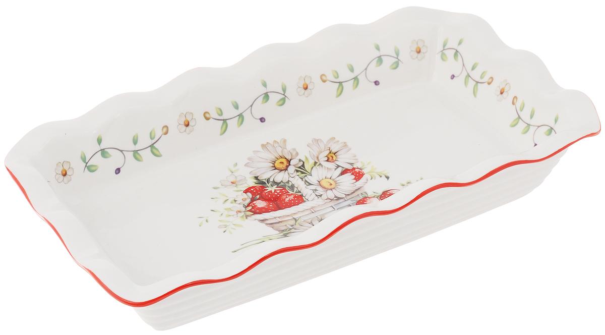 Блюдо для заливного Elan Gallery Ромашки, 27 х 15 см115510Сервировочное блюдо Elan Gallery Ромашки, изготовленное из керамики, прекрасно подойдет для заливного, холодца и слоеных салатов. Блюдо оформлено в цветочном дизайне. Оно украсит сервировку вашего стола и подчеркнет прекрасный вкус хозяйки. Не использовать в микроволновой печи.Размер блюда (по верхнему краю): 27 х 15 см.Высота стенки блюда: 4,5 см.