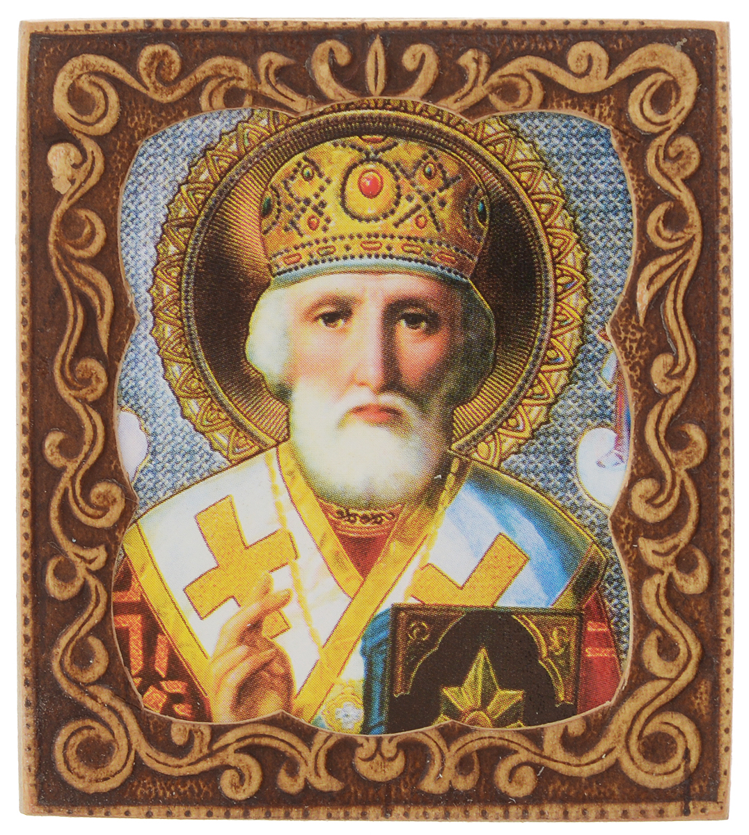 Икона Sima-land Святой Николай Чудотворец, 6 х 6,5 смHL-777A60Икона Sima-land Святой Николай Чудотворец изготовлена из бересты. Легкая и миниатюрная, такая икона будет прекрасным подарком с духовной составляющей.