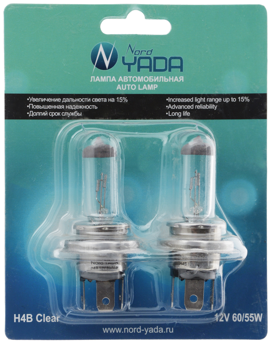Лампа автомобильная галогенная Nord YADA Clear, цоколь H4B, 12V, 60/55W, 2 шт10503Лампа автомобильная галогенная Nord YADA Clear - это электрическая галогенная лампа с вольфрамовой нитью для автомобилей и других моторных транспортных средств. Виброустойчива, надежна, имеет долгий срок службы, увеличивает дальность света на 15%. Галогенные лампы предназначены для использования в фарах ближнего, дальнего и противотуманного света. Серия Clear обеспечивает водителю классический оттенок светового пятна на дороге, к которому привыкло большинство водителей.