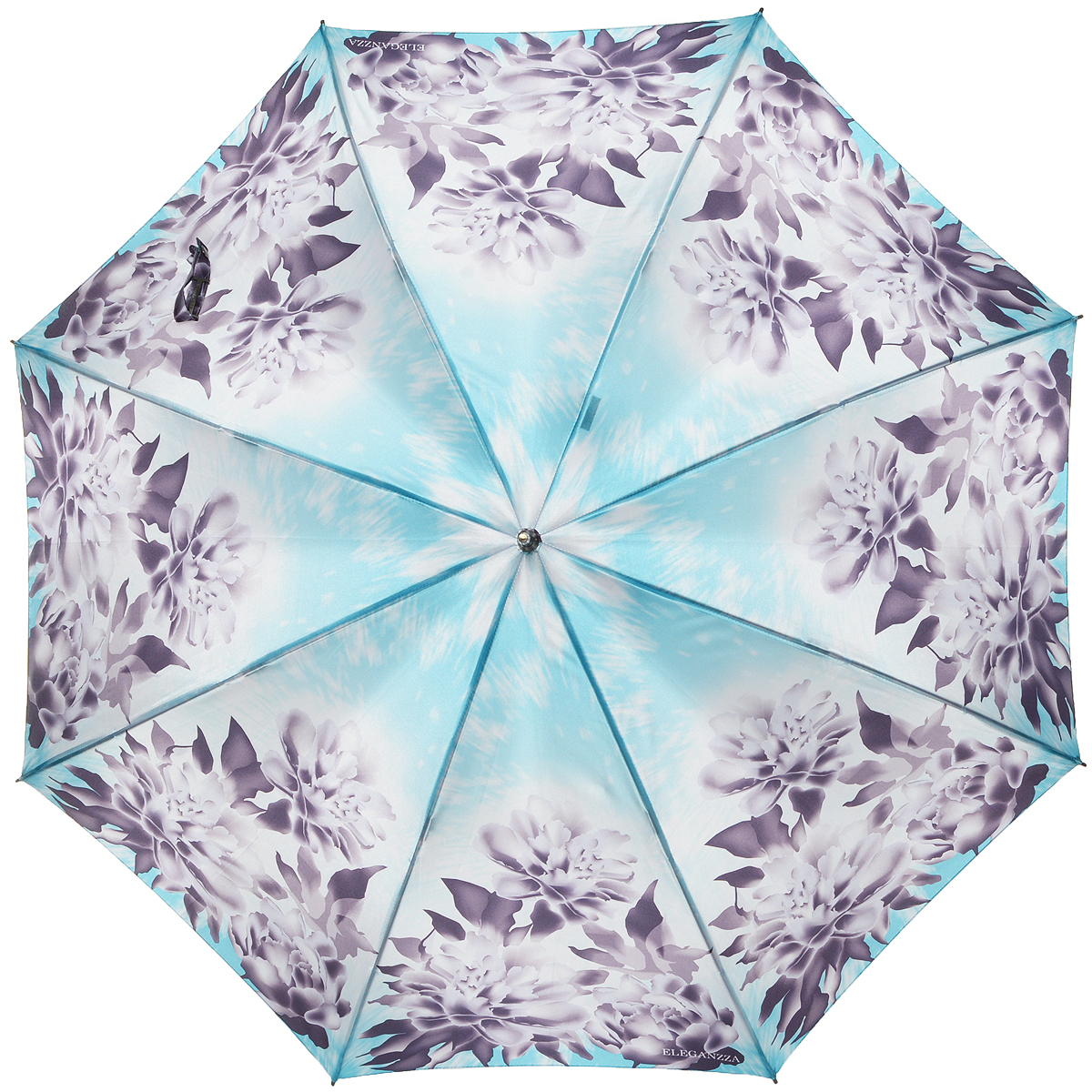 Зонт-трость женский Eleganzza, механика, цвет: голубой, тауп. T-06-0237Серьги с подвескамиЭлегантный женский зонт-трость Eleganzza не оставит вас незамеченной. Изделие оформлено оригинальным принтом в виде цветов. Зонт состоит из восьми спиц и стержня, изготовленных из стали и фибергласса. Купол выполнен из качественного полиэстера и сатина, которые не пропускают воду. Зонт дополнен удобной ручкой из акрила, которая имеет форму крючка. Также зонт имеет заостренный наконечник, который устраняет попадание воды на стержень и уберегает зонт от повреждений.Изделие имеет полуавтоматический механизм сложения: купол открывается нажатием кнопки на ручке, а складывается вручную до характерного щелчка.Оригинальный и практичный аксессуар даже в ненастную погоду позволит вам оставаться женственной и привлекательной.