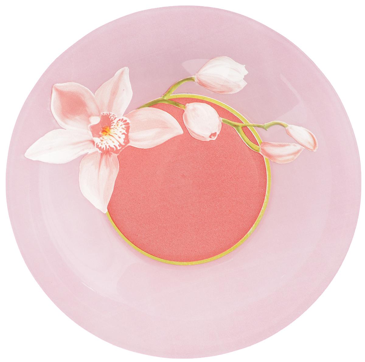Тарелка глубокая Luminarc Red Orchis, диаметр 21,5 cм54 009312Глубокая тарелка Luminarc Red orchis выполнена из ударопрочного стекла и имеет классическую круглую форму. Тарелка оформлена в цветочном дизайне с изображением орхидей. Она прекрасно впишется в интерьер вашей кухни и станет достойным дополнением к кухонному инвентарю. Тарелка Luminarc Red Orchis не только украсит ваш праздничный или обеденный стол, но и станет отличным подарком. Диаметр тарелки (по верхнему краю): 21,5 см.