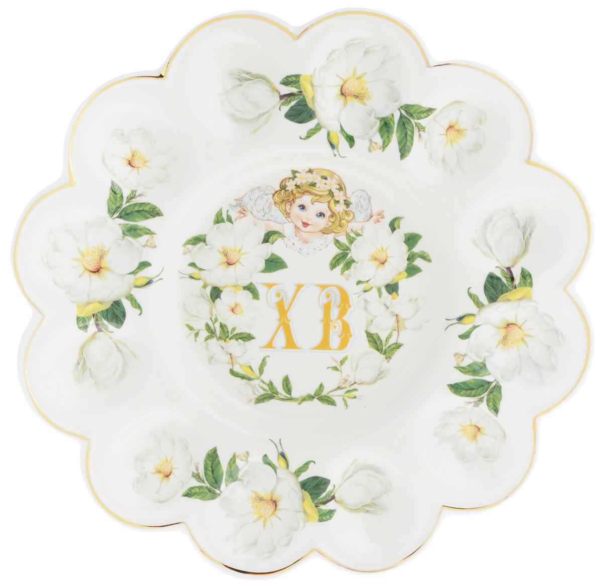 Тарелка для фаршированных яиц Elan Gallery ХВ. Белый шиповник, диаметр 24 см115610Тарелка для фаршированных яиц Elan Gallery ХВ. Белый шиповник, изготовленная из высококачественной керамики, украсит ваш праздничный стол. На изделии имеются специальные углубления для 12 яиц. Тарелка оформлена цветочным рисунком.Такая тарелка украсит сервировку вашего стола и подчеркнет прекрасный вкус хозяйки. Не рекомендуется применять абразивные моющие средства. Не использовать в микроволновой печи.