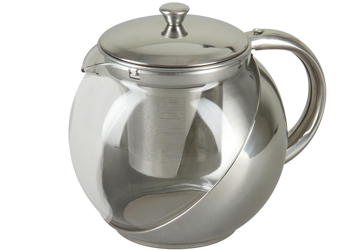 Чайник заварочный Rosenberg 900мл. RSG-250001-LVT-1520(SR)Чайник изготовлен из нержавеющей стали и термостойкого боросиликатного стекла и выдерживает температуру от -15°C до 148°C. Это позволяет использовать ее как для кипятка, так и для охлаждения в холодильнике. Съемный фильтр из нержавеющей стали. Объем 900мл Металл с зеркальной полировкой