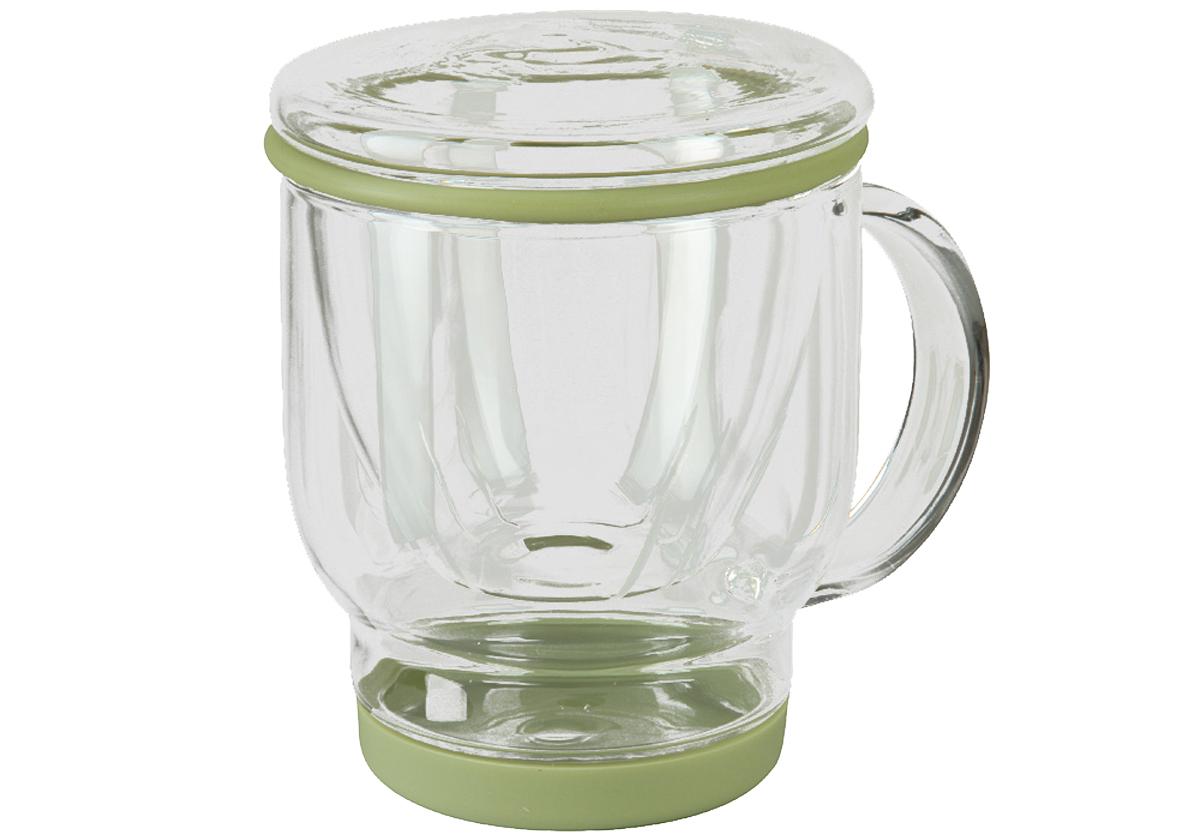 Кружка-заварник для чая Rosenberg Coloriva, 500мл. PGL-245001115510Кружка-заварник для чая состоит из: кружки с силиконовой подставкой, стеклянного сита с силиконовым кантом и стеклянной крышки-подставки. Все силиконовые детали съемные и расположены так, чтобы вы случайно не разбили стеклянные части заварника друг об друга. Прорези в сите такие тонкие, что задержат и мелкие чаинки, и крупный лист. Перевернутая крышка служит подставкой для сита (в крышке предусмотрен небольшой резервуар на случай, если вы слили не всю жидкость в кружку). Объем: 500 мл В наборе: Кружка, сито и крышка-подставка Высота: 15,5 см Материалы: стекло, силикон