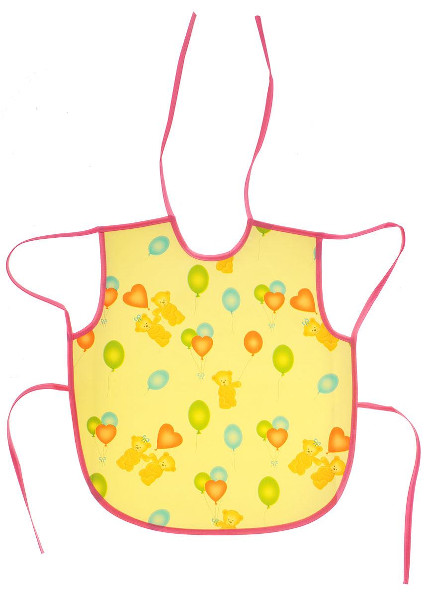 Колорит Фартук Мишки с шариками цвет желтый розовый 36 х 38 см224838Фартук Колорит Мишки с шариками с непромокаемым слоем защитит одежду малыша во время кормления и освободит родителей от дополнительных хлопот.Фартук на завязках - выбор практичных мамочек, пользоваться им можно более длительное время, пока ваш малыш растет, благодаря завязкам вы сможете легко контролировать длину изделия и регулировать размер горловины. Лицевая сторона оформлена забавным изображением.Материал: клеенка, ПВХ.