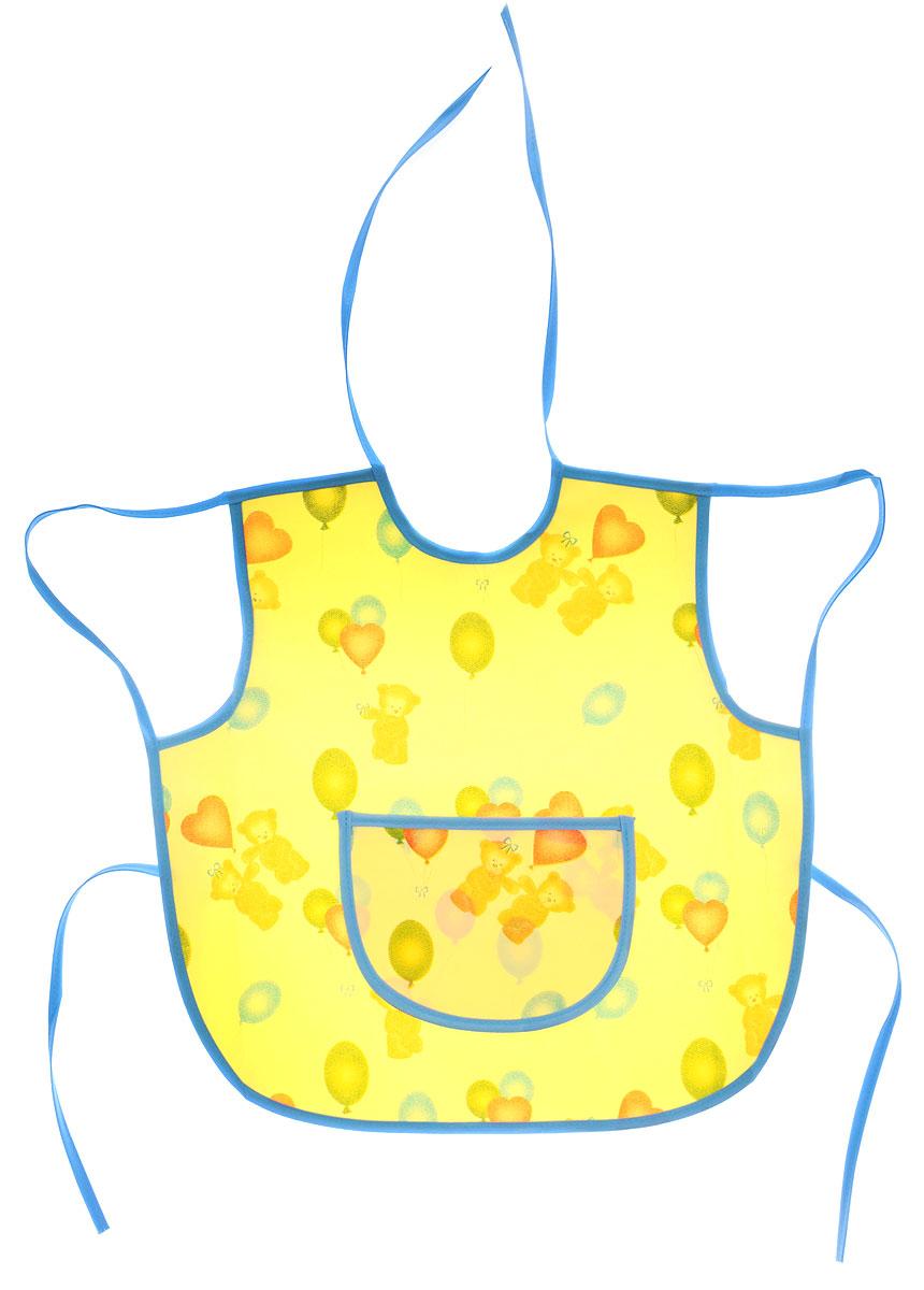 Колорит Фартук защитный Мишки с шариками цвет желтый голубой 36 х 36 см0071_желтый, голубойФартук Колорит Мишки с шариками с непромокаемым слоем защитит одежду малыша во время кормления и освободит родителей от дополнительных хлопот.Фартук на завязках - выбор практичных мамочек, так им можно пользоваться более длительное время. Пока ваш малыш растет, благодаря завязкам вы сможете легко контролировать длину изделия и регулировать размер горловины. Фартук изготовлен из клеенки подкладной с ПВХ покрытием и дополнен широким карманом. Лицевая сторона оформлена забавным изображением.Материал: клеенка, ПВХ.