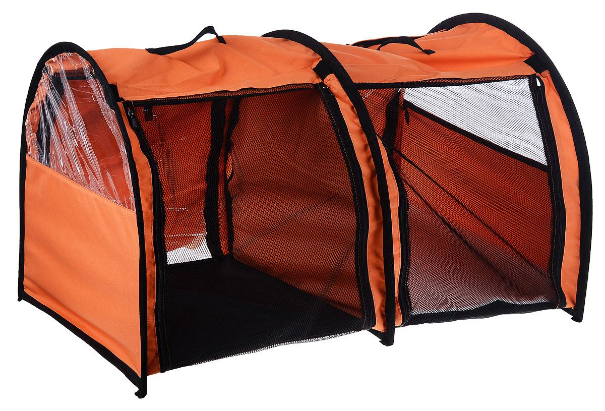 Клетка выставочная Elite Valley, двойная, цвет: оранжевый, черный, 103 х 60 х 60 см524SDRКлетка Elite Valley предназначена для показа кошек и собак на выставках. Она выполнена из плотного текстиля, каркас - металлический. Клетка оснащена съемными пленкой и сеткой. Внутри имеется мягкая подстилка, выполненная из искусственного меха. Прозрачную пленку можно прикрыть шторкой. Сверху расположены ручки для переноски.В комплекте сумка-чехол для удобной транспортировки.