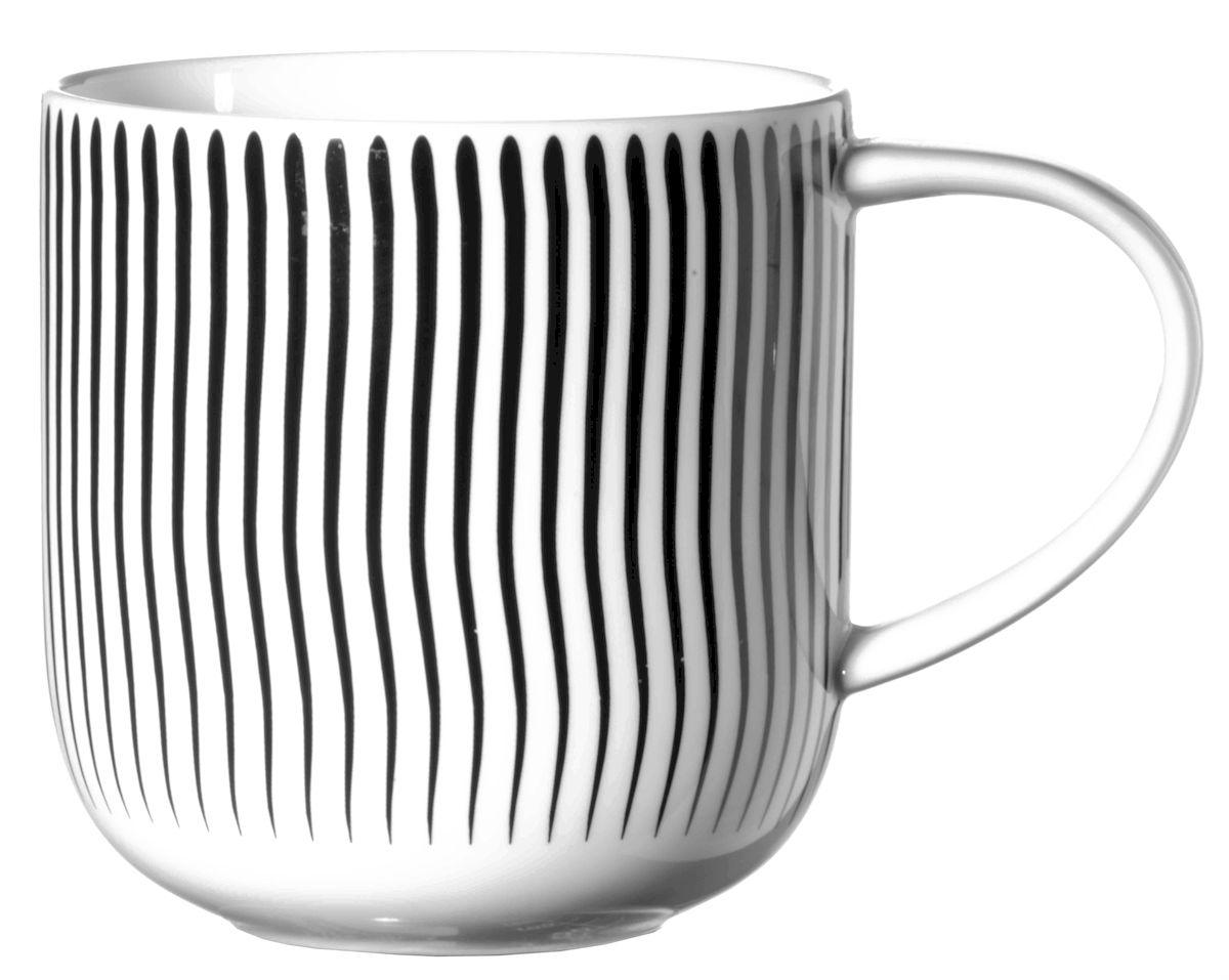 Чашка Asa Selection Coppa. Волны, 400 мл, цвет: черный, белый. 19103/014VT-1520(SR)Чашка COPPA, волны. Объем: 0,4 литра. Материал: фарфор. Цвет: черно-белый.