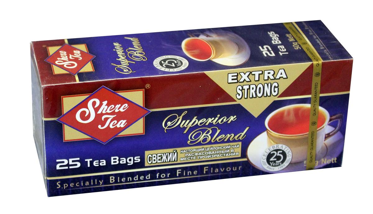 Shere Tea Superior Blend чай черный в пакетиках, 25 штTB 1807-50Черный мелколистовой ломаный чай в пакетиках Shere Tea Superior Blend. Чай быстро заваривается, имеет яркий, прозрачный настой с интенсивной окраской. Вкус терпкий с приятной горчинкой и хорошо выраженным ароматом. Двойные пакетики можно делить пополам, так как это позволяет регулировать крепость чая.