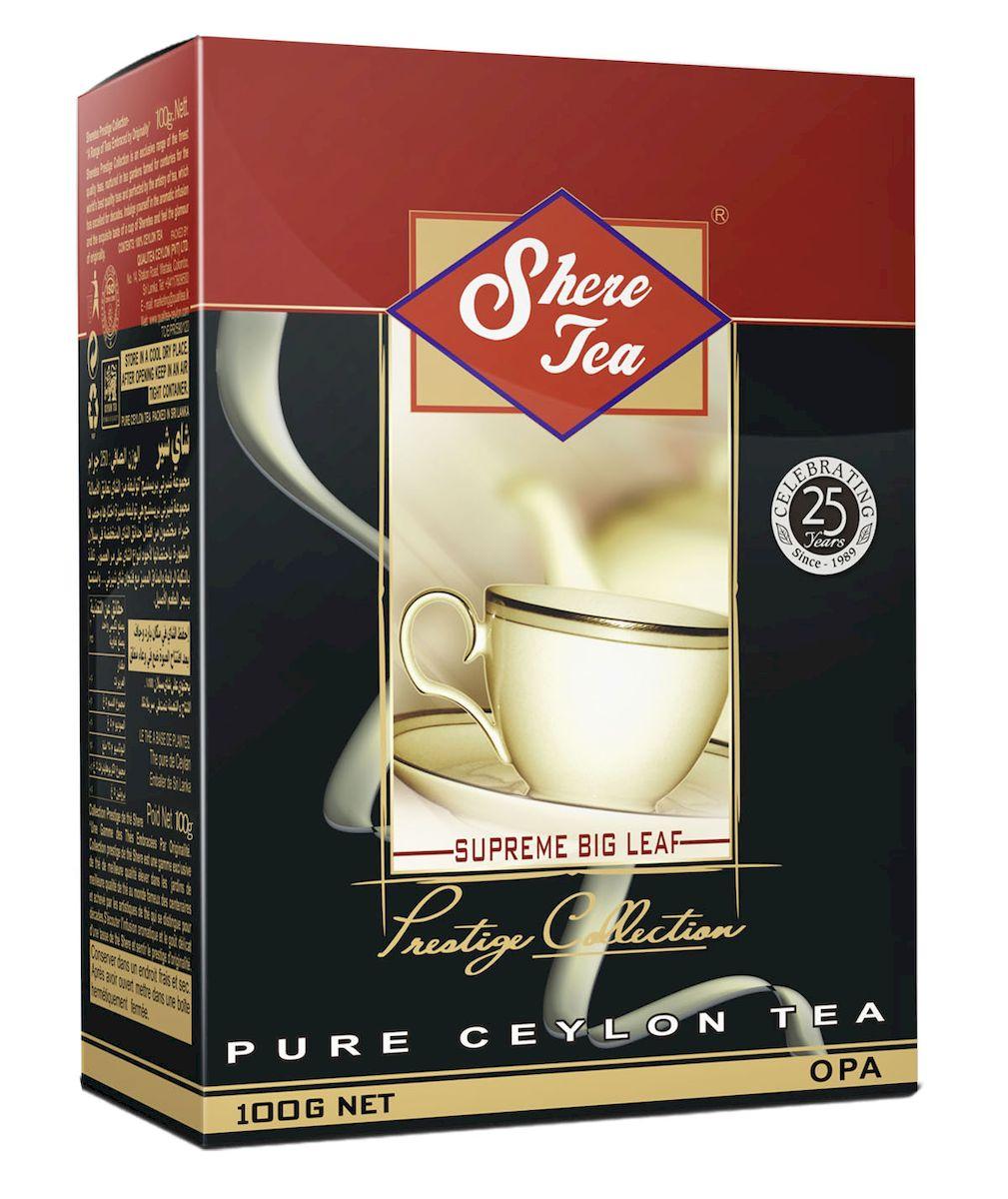 Shere Tea Престижная коллекция. OPА чай черный листовой, 100 г0120710Чай Шери престижная коллекция. Листья для этого чая собирают с кустов после того, как почки полностью раскрываются. Для этого сорта собирают первый и второй лист с ветки. В сухой заварке листья должны быть крупными (от 8 до 15 мм), однородными, хорошо скрученными. Этот сорт практически не содержит типсов.Этот сорт имеет достаточно высокое содержание ароматических масел, и поэтому настой чай очень ароматен. Также этот чай характерен вкусом с горчинкой благодаря большому содержанию дубильных веществ. Кофеина в этом чае немного меньше, так как в нем используют более взрослые листы, в которых содержание кофеина меньше, чем в типсах и молодых листах. Чай имеет яркий, прозрачный, интенсивный, настой. Аромат чая полный, приятный, выражен достаточно ярко.