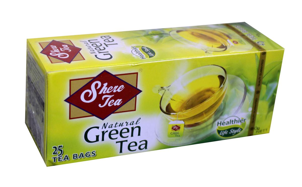 Shere Tea чай зеленый в пакетиках, 25 шт4791014008514Чай зеленый в пакетиках Shere Tea имеет яркий Настой с интенсивной окраской. Быстро заваривается. Чай имеет особый мягкий сладковатый вкус и аромат настоящего зеленого чая, оказывает благотворное влияние на организм.В упаковке 25 пакетиков для разовой заварки по 2 грамма.