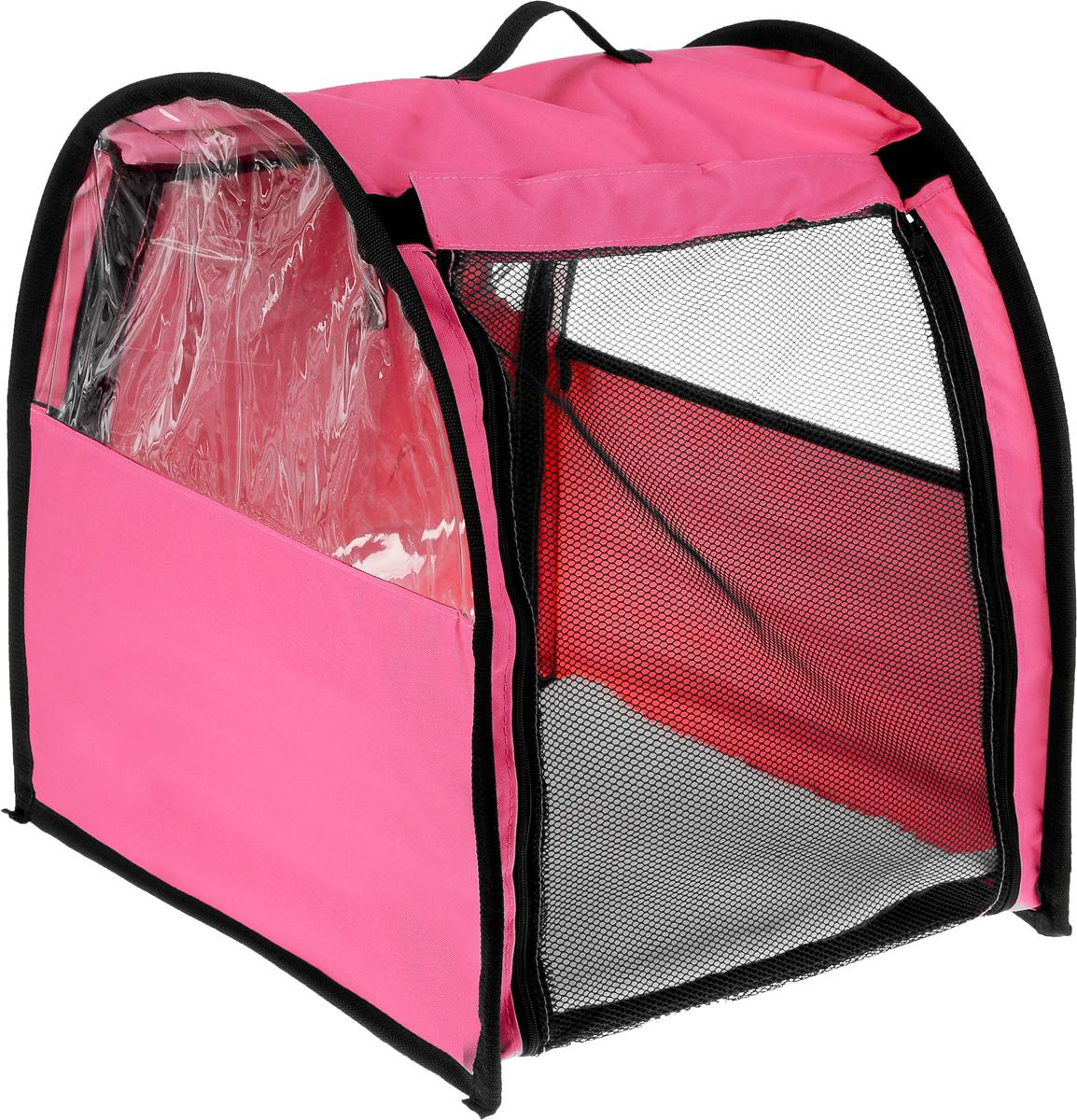 Клетка выставочная Elite Valley, полукруглая, одинарная, цвет: розовый, черный, прозрачный, 60 х 49 х 62 см1642DDКлетка Elite Valley предназначена для показа кошек и собак мелких пород на выставках. Она выполнена из прочной ткани ПВХ, каркас металлический. Клетка оснащена съемными пленкой и сеткой. Внутри имеется крепеж для гамака и мягкий матрас, выполненный из искусственного меха. Прозрачную пленку можно прикрыть шторкой. Информацию о питомце можно разместить в небольшом кармашке. Сверху расположена ручка для переноски.В комплекте сумка-чехол для переноски.Размер клетки: 60 х 49 х 62 см.Размер матраса: 55 х 50 см.