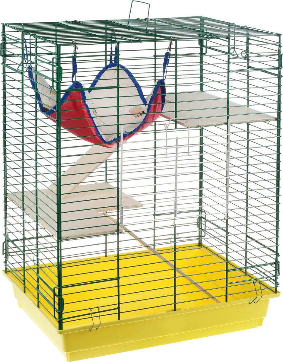 Клетка для шиншилл и хорьков ЗооМарк, цвет: желтый поддон, зеленая решетка, бежевые этажи, 59 х 41 х 79 см. 725дк16147Клетка ЗооМарк, выполненная из полипропилена и металла, подходит для шиншилл и хорьков. Большая клетка оборудована длинными лестницами и гамаком. Изделие имеет яркий поддон, удобно в использовании и легко чистится. Сверху имеется ручка для переноски. Такая клетка станет уединенным личным пространством и уютным домиком для грызуна.Уважаемые клиенты! Обращаем ваше внимание на допустимые незначительные изменения в дизайне товара, некоторые детали могут отличаться по цвету от товара, изображенного на фотографии.