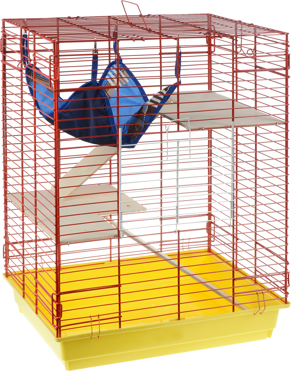 Клетка для шиншилл и хорьков ЗооМарк, цвет: желтый поддон, красная решетка, 59 х 41 х 79 см. 725дк0120710Клетка ЗооМарк, выполненная из полипропилена и металла, подходит для шиншилл и хорьков. Большая клетка оборудована длинными лестницами и гамаком. Изделие имеет яркий поддон, удобно в использовании и легко чистится. Сверху имеется ручка для переноски. Такая клетка станет уединенным личным пространством и уютным домиком для грызуна.