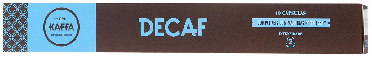 Kaffa Decaf Крепость 2 кофе в капсулах, 10 шт0120710Kaffa Decaf без кофеина получается за счет применения натуральной декофеинизации (удаления кофеина из кофейных зерен) без использования какой-либо химической добавки. Отличается кислотностью и ароматами, типичными для сорта Арабика. Позволит вам получить настоящий Espresso!