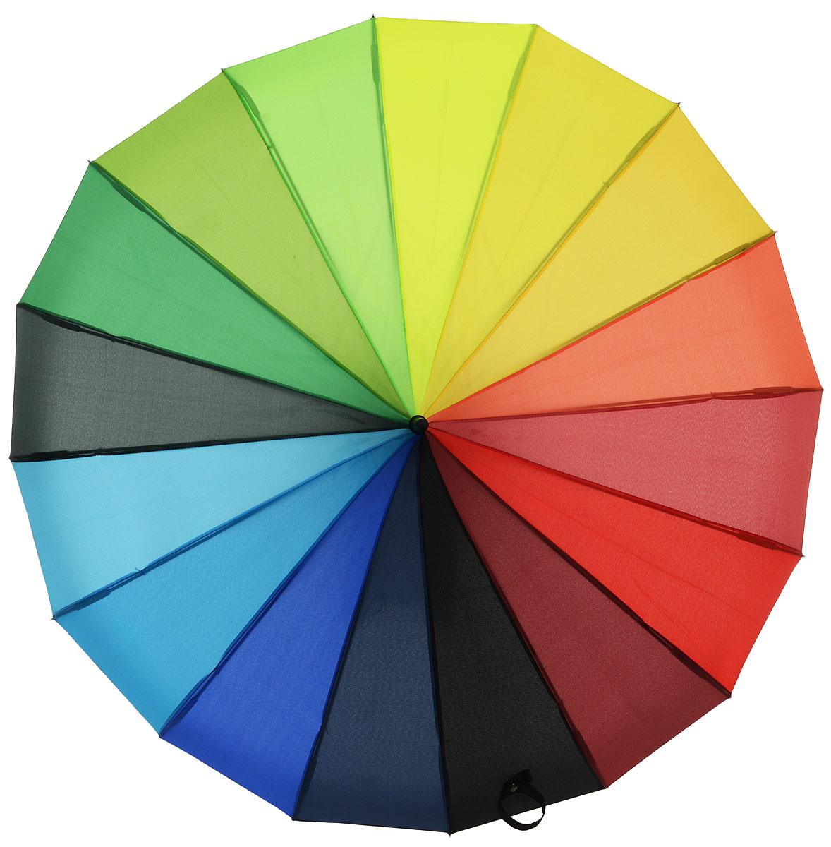 Зонт-трость женский Flioraj Радуга, механика, цвет: мультиколор. 121200-1K50K503414_0010Яркий и оригинальный зонт Flioraj не оставит вас без внимания. Зонт состоит из 16 спиц и прочного стержня, изготовленных из анодированной стали. Купол зонта изготовленный из качественного полиэстера, выполнен в необычной форме. Зонт оснащен ручкой из матового пластика.Изделие имеет механический способ сложения: и купол, и стержень открываются и закрываются вручную до характерного щелчка. Зонт закрывается хлястиком на кнопку.Такой зонт не только надежно защитит вас от дождя, но и станет стильным аксессуаром, который идеально подчеркнет ваш неповторимый образ. Такой оригинальный зонт с насыщенными цветами поднимет настроение не только вам, но и окружающим.