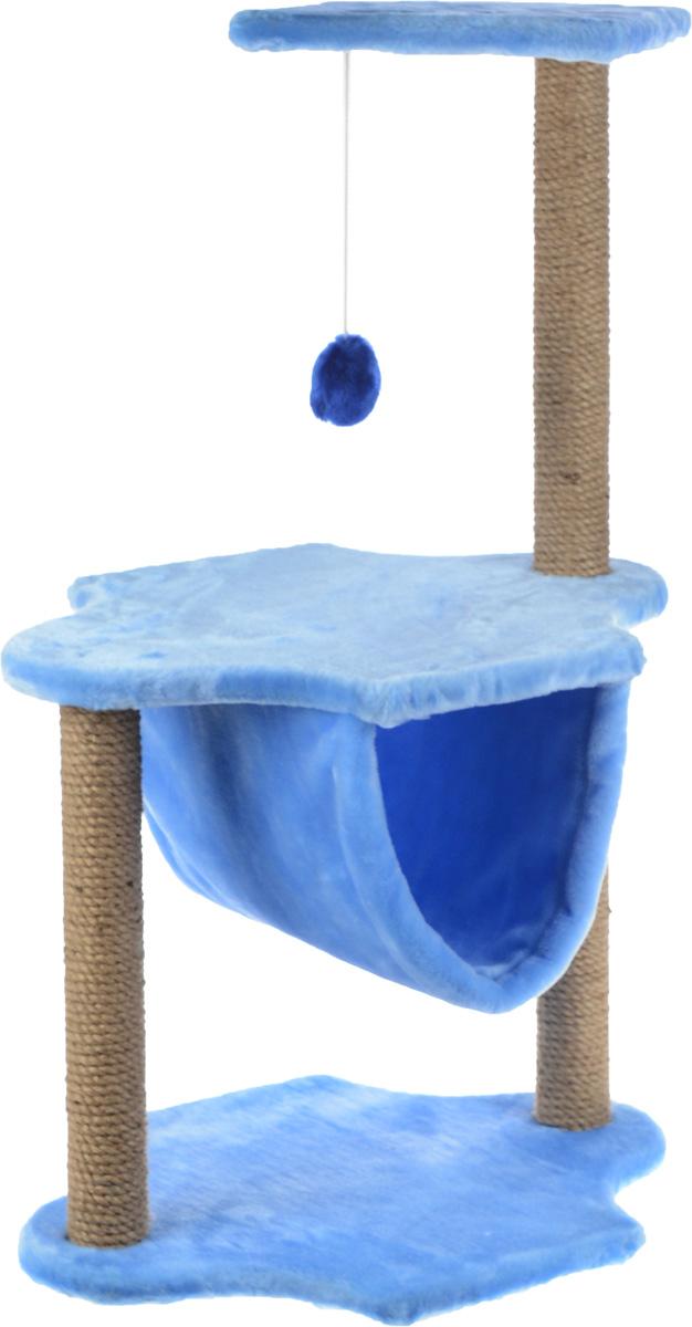 Игровой комплекс для кошек ЗооМарк, 3-ярусный, цвет: голубой, бежевый, 60 х 50 х 100 см0120710Игровой комплекс для кошек ЗооМарк выполнен из высококачественного дерева и обтянут искусственным мехом. Изделие предназначено для кошек. Комплекс имеет 3 яруса. Ваш домашний питомец будет с удовольствием точить когти о специальные столбики, изготовленные из джута. А отдохнуть он сможет либо на полках, либо в гамаке, расположенном на нижнем ярусе. На одной из полок расположена игрушка, которая еще сильнее привлечет внимание питомца.Общий размер: 60 х 50 х 100 см.Размер основания и средней полки: 60 х 45 см.Размер верхней полки: 50 х 34 см.
