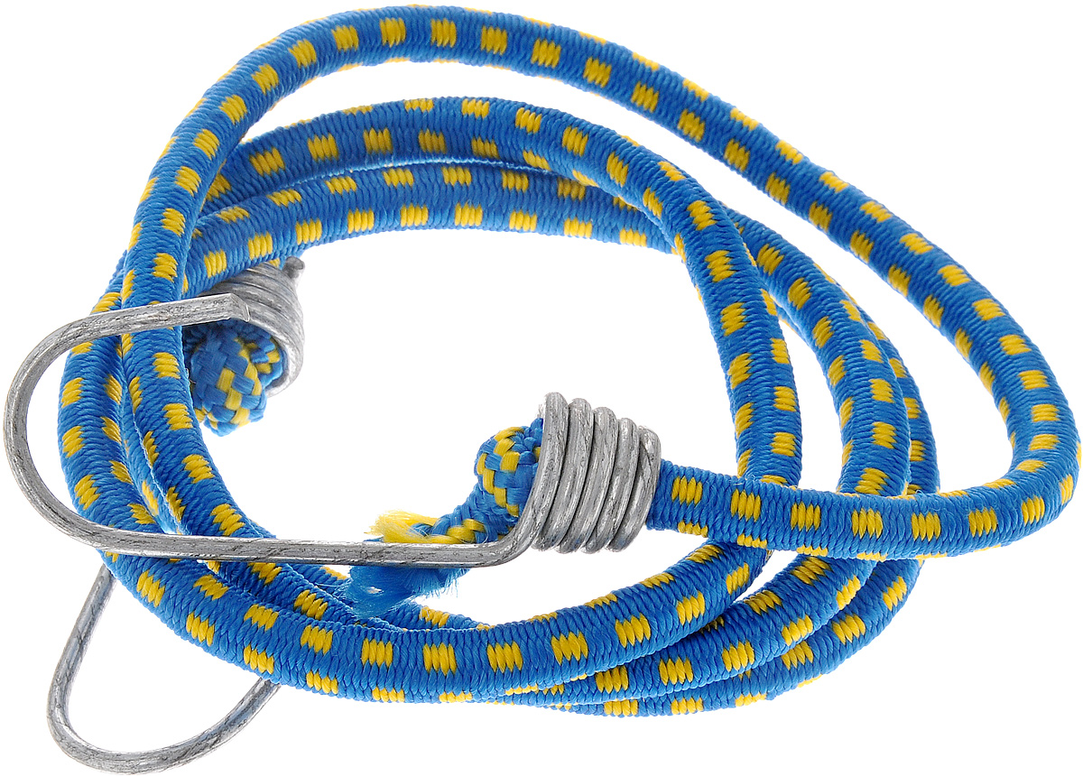 Резинка багажная МастерПроф, с крючками, цвет: синий, желтый, 0,6 х 110 см. АС.020022300159Багажная резинка МастерПроф, выполненная из синтетического каучука, оснащена специальными металлическими крюками, которые обеспечивают прочное крепление и не допускают смещения груза во время его перевозки. Изделие применяется для закрепления предметов к багажнику. Такая резинка позволит зафиксировать как небольшой груз, так и довольно габаритный. Материал: синтетический каучук.Температура использования: -15°C до +50°C.Безопасное удлинение: 60%.Диаметр резинки: 0,6 см.Длина резинки: 110 см.