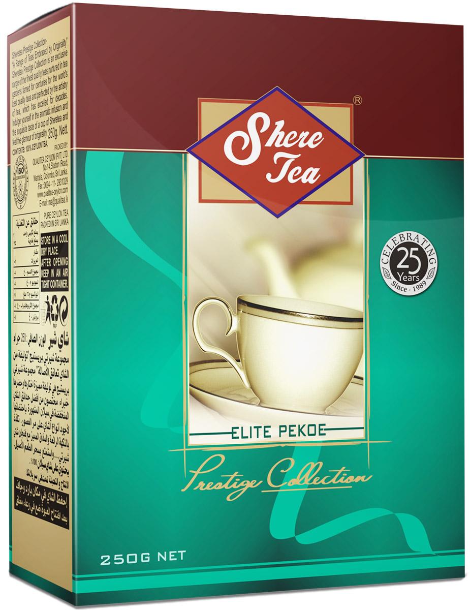 Shere Tea Престижная коллекция Pekoe чай черный листовой, 250 г4791014000327Это эксклюзивная коллекция чая Шери для знатоков.Престижная коллекция - это эксклюзивные сорта лучшего 100% цейлонского чая, выращенного в гористой местности на золотых плантациях, знаменитых более столетия. Вы получите наслаждение от аромата и особенного вкуса в каждой чашке чая Шери и прикоснетесь к очарованию его новизны.