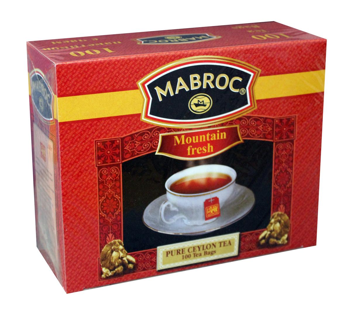 Mabroc Голд Свежесть горная чай черный в пакетиках, 100 шт101246Цейлонский черный мелколистовой чай в пакетиках Mabroc Голд - это качественный чай с собственных плантаций. Его насыщенный вкус и терпкий аромат никого не оставят равнодушным. Настой яркий, прозрачный с интенсивной окраской. Быстро заваривается. Вкус терпкий с приятной горчинкой и хорошо выраженным ароматом.