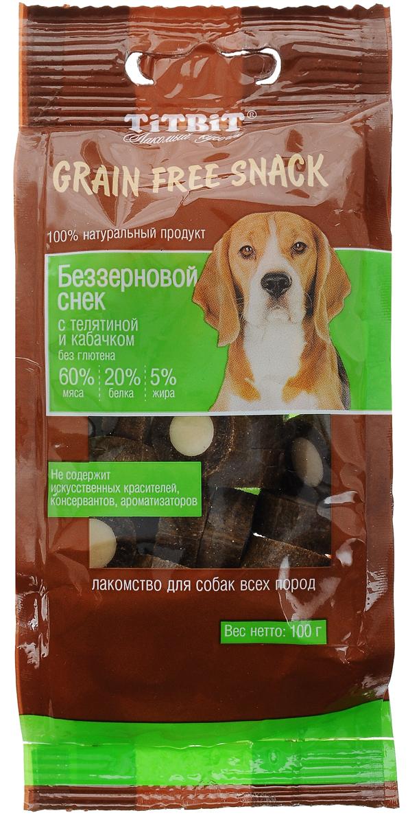 Лакомство для собак Titbit Grain Free, беззерновые снеки с телятиной и кабачком, 100 г0120710Лакомство для собак Titbit Grain Free - это вкусные натуральные беззерновые снеки для собак всех пород. Снеки содержат 60% мяса, что обеспечивает максимальное количество белка в рационе питомца и, в свою очередь, снижает количество углеводов. Не содержат искусственных красителей, консервантов, ароматизаторов. Снеки идеально подходят в качестве поощрения при дрессировке. Товар сертифицирован.