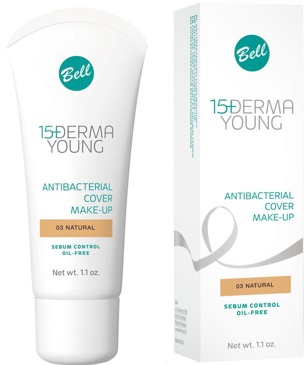 Bell Флюид матирующий антибактериальный Derma Young Foundation 30 гр1092018Показания к применению: Кожа склонная к угревой сыпи, чрезмерное выделение кожного сала.Действие: Идеально подходит для кожи, склонной кобразованию угрей. Прекрасно скрывает покраснения и недостатки кожи лица. Не закупоривает поры, предотвращает появление жирного блеска кожи, матирует кожу лица. Благодаря легкой, нежирной формуле флюид легко наносится на кожу и придает ей естественный, равномерный цвет, не оставляя разводов. Активный комплекс из трех компонентов: глицина, корицы и саркозина - Sebum Control создает эффективный антимикробный барьер и оказывает успокаивающее действие. Содержит витамины С и Е. Эффект: Идеальная маскировка дефектов кожи, свежий, матовый цвет лица. Тон 3