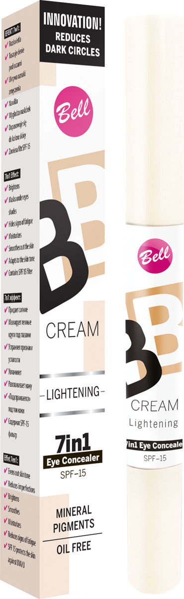 """Bell Корректор светоотражающий Bb Cream Lightenning 4 гр28032022В состав корректора входят специальные увлажняющие компоненты, благодаря которым кожа становится более эластичной и увлажненной. Модифицирован кремнеем создает эффект """"Soft Focus"""" - зрительно минимизурующий несовершенства кожи. Корректор содержит фильтр SPF 15, обеспечивающий полную защиту чувствительной и тонкой кожи вокруг глаз.При синяках, отеках под глазами, отсутствии упругости кожи.Особенности состава: В состав корректора входят специальные увлажняющие компоненты, благодаря которым кожа становится более эластичной и увлажненной. Модифицирован кремнеем, создает эффект """"Soft Focus"""" - зрительно минимизурующий несовершенства кожи.Способ применения: Нанести тонким слоем лёгкими движениями на кожу вокруг глаз"""