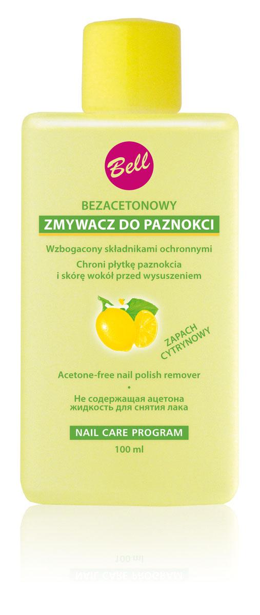 Bell Жидкость для снятия лака не содержащая ацетона с фруктовым ароматом Nail Polish Remover Лимон, 100 гр