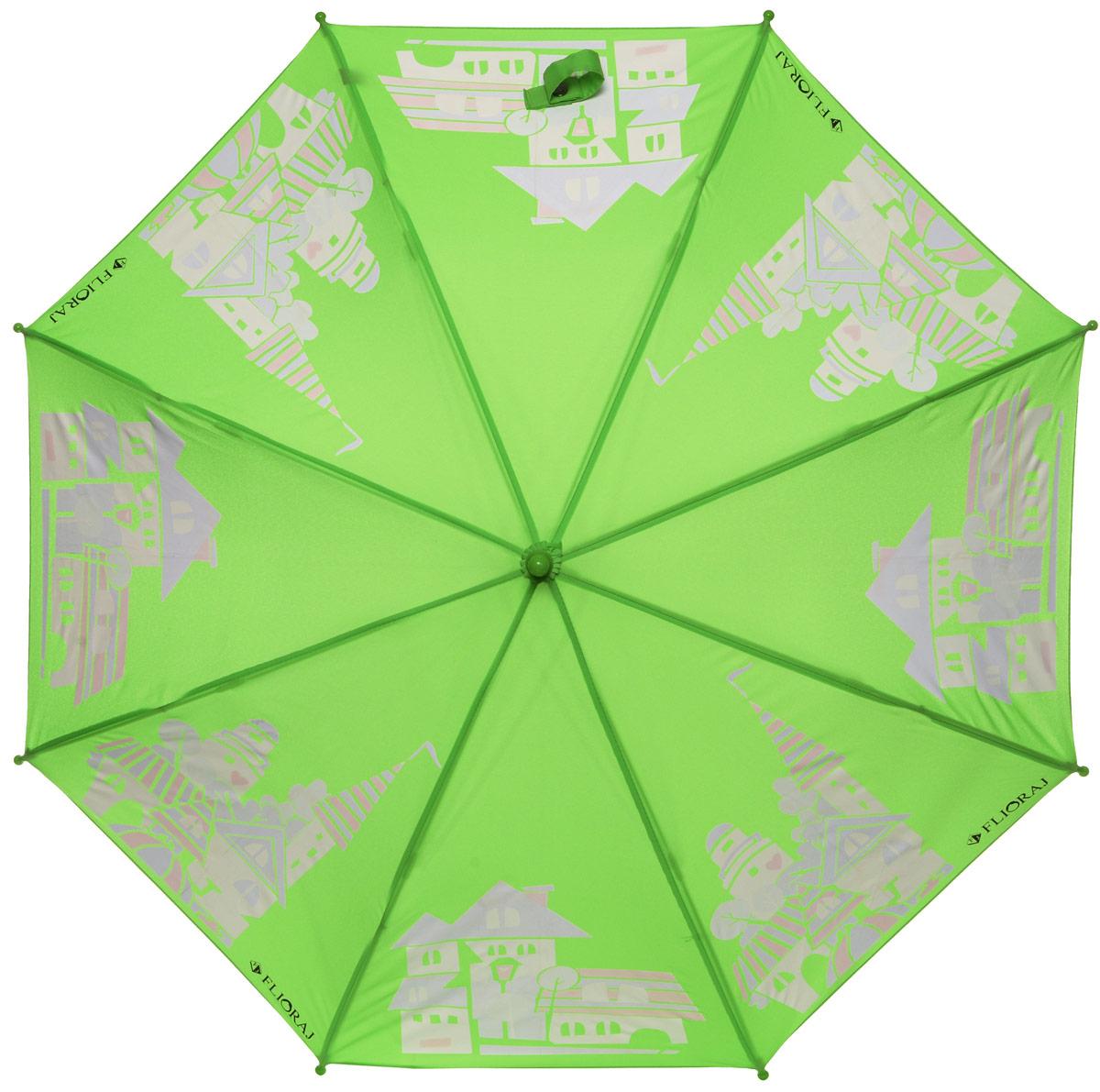 Зонт-трость детский Flioraj, механика, цвет: зеленый. 051206REM12-CAM-REDBLACKОригинальный и практичный детский зонт-трость Flioraj будет отличным подарком для вашего ребенка.Зонт состоит из восьми спиц и стержня выполненных из прочного, но легкого фибергласса. Купол выполнен из качественного полиэстера, который не пропускает воду и оформлен красочным рисунком. Зонт дополненудобной пластиковой ручкой в виде крючка.Изделие имеет механический способ сложения: и купол, и стержень открываются и закрываются вручную до характерного щелчка. Зонт закрывается хлястиком на кнопку.Зонт дополнен свистком. Такой интересный дизайн понравится любой девочке.
