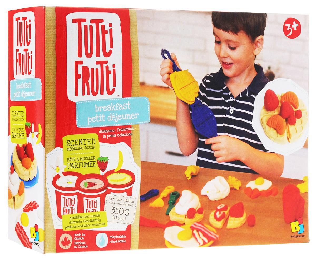 """Набор ароматизированной массы для лепки """"Завтрак"""" превратит досуг вашего ребенка в настоящий праздник! 3 баночки с разноцветной массой, имеющих приятный аромат, лопатка, 3 прибора и пластмассовая вафельница позволят создать самые разнообразные блюда, которые только придут на ум! Очень мягкая масса не липнет к рукам, не оставляет пятен, не рассыхается и легко восстанавливается водой. Масса имеет натуральные ароматы."""