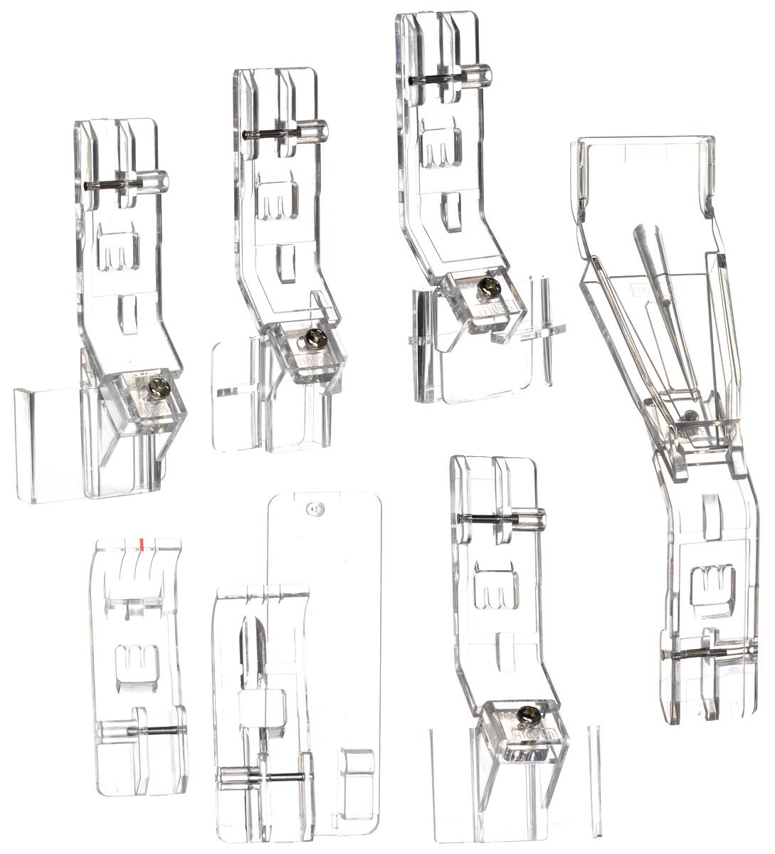 Merrylock комплект лапок для плоских швов1116Комплект прозрачных лапок для плоских швов Merrylock. Подходят для 5-ти ниточных оверлоков и плоскошовных машин Merrylock.В состав комплекта входят:Лапка для вшивания шнура или канта;Лапка для плоских швов;Лапка для пришивания тесьмы и кружевных лент;Лапка для двойной подгибки и вшивания ленты или косой бейки (25-28 мм);Лапка для подгибки края материала;Лапка для изготовления шлевок или косой бейки (23-25 мм);Лапка для пришивания тесьмы и кружевных лент с подгибкой края материала.