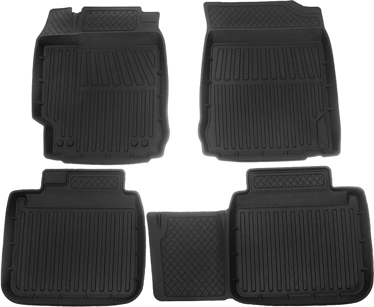 Коврики в салон автомобиля Protex, для Toyota Camry, 2015->, с перемычкой, 4 шт94672Автомобильные коврики Protex полностью повторяют геометрию салона автомобиля. Изделия оснащены перемычкой, предотвращающими загрязнение тоннеля карданного вала. При изготовлении автомобильных ковриков используются только первичные материалы, в результате чего отсутствует неприятный запах в салоне автомобиля. Рисунок, нанесенный на поверхность ковриков, затрудняет перемещение жидкости, а высокий борт препятствует переливу жидкости и грязи из поддона на чистый салон автомобиля.