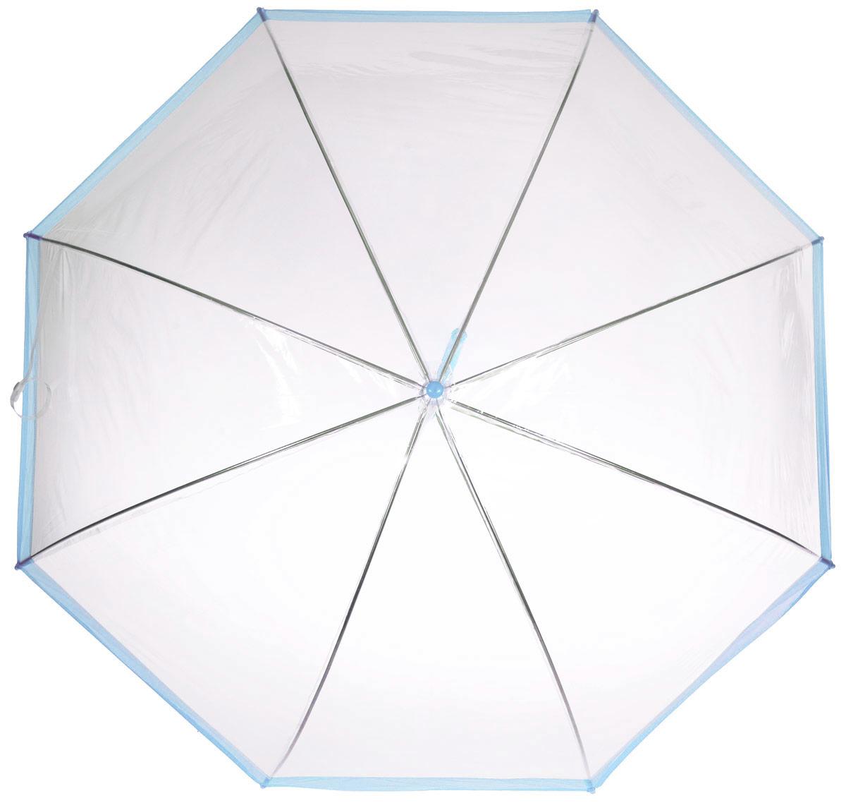 Зонт-трость женский Эврика, механика, цвет: прозрачный, голубой. 94292REM12-CAM-REDBLACKОригинальный и элегантный женский зонт-трость Эврика порадует своим оформлением даже в ненастную погоду.Зонт состоит из восьми спиц и стержня выполненных из качественного металла. Купол выполнен из качественного ПВХ, который не пропускает воду. Зонт дополненудобной пластиковой ручкой в виде крючка.Изделие имеет механический способ сложения: и купол, и стержень открываются и закрываются вручную до характерного щелчка. Зонт закрывается хлястиком на кнопку. Зонт имеет прозрачную текстуру, что позволяет видеть обстановку вокруг себя.Такой зонт не оставит вас незамеченной.