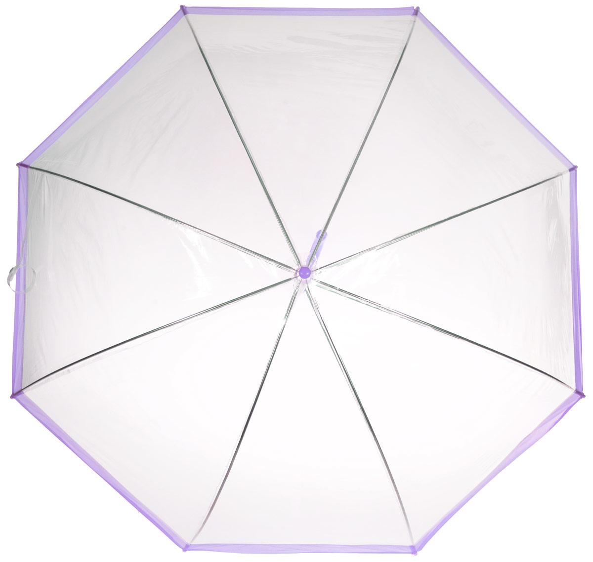 Зонт-трость женский Эврика, механика, цвет: прозрачный, сиреневый. 94864K50K503414_0010Оригинальный и элегантный женский зонт-трость Эврика порадует своим оформлением даже в ненастную погоду.Зонт состоит из восьми спиц и стержня выполненных из качественного металла. Купол выполнен из качественного ПВХ, который не пропускает воду. Зонт дополненудобной пластиковой ручкой в виде крючка.Изделие имеет механический способ сложения: и купол, и стержень открываются и закрываются вручную до характерного щелчка. Зонт закрывается хлястиком на кнопку. Зонт имеет прозрачную текстуру, что позволяет видеть обстановку вокруг себя.Такой зонт не оставит вас незамеченной.