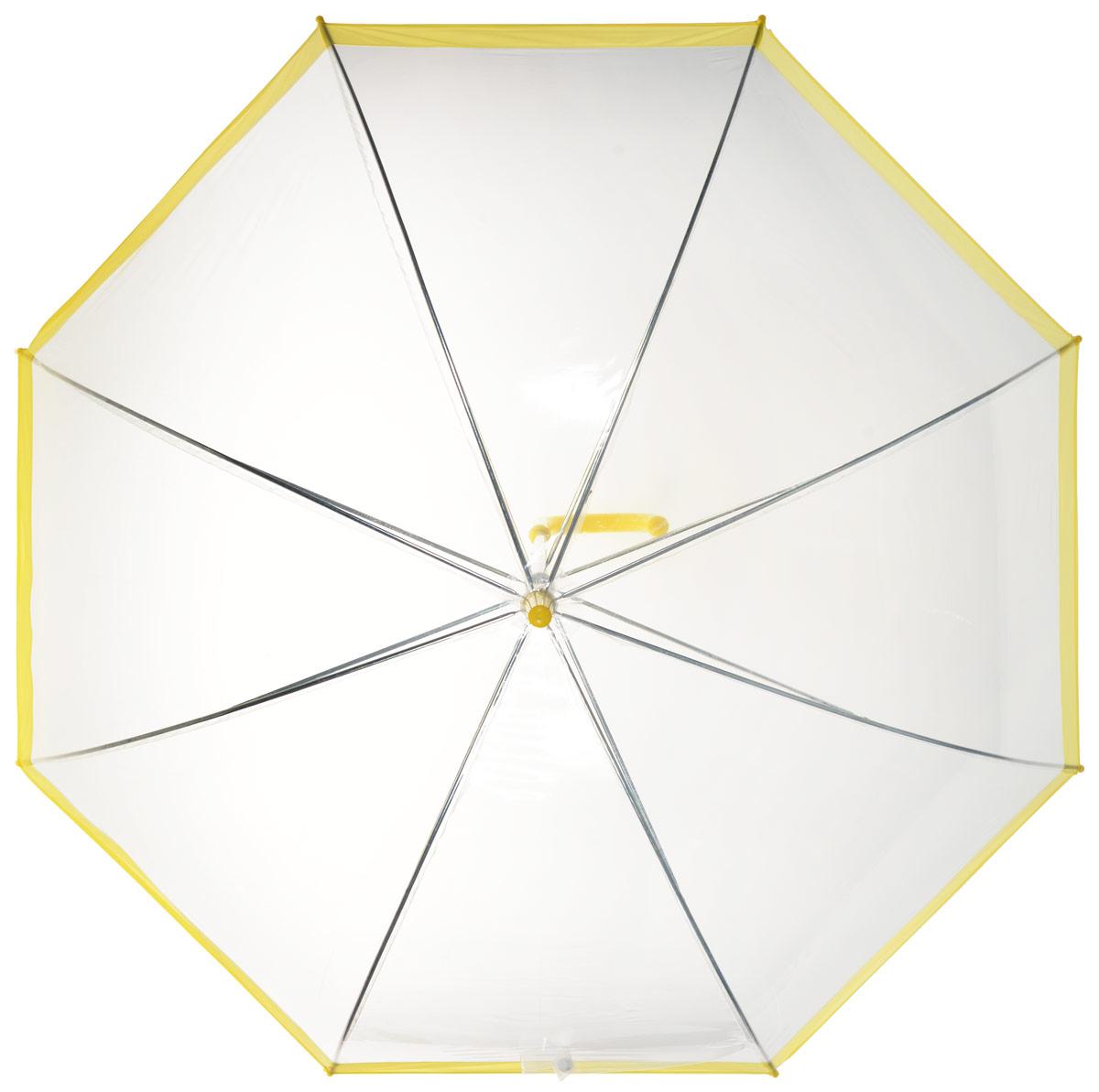 Зонт-трость женский Эврика, механика, цвет: прозрачный, желтый. 9486245100033/18076/3500NОригинальный и элегантный женский зонт-трость Эврика порадует своим оформлением даже в ненастную погоду.Зонт состоит из восьми спиц и стержня выполненных из качественного металла. Купол выполнен из качественного ПВХ, который не пропускает воду. Зонт дополненудобной пластиковой ручкой в виде крючка.Изделие имеет механический способ сложения: и купол, и стержень открываются и закрываются вручную до характерного щелчка. Зонт закрывается хлястиком на кнопку.Зонт имеет прозрачную текстуру, что позволяет видеть обстановку вокруг себя.Такой зонт не оставит вас незамеченной.
