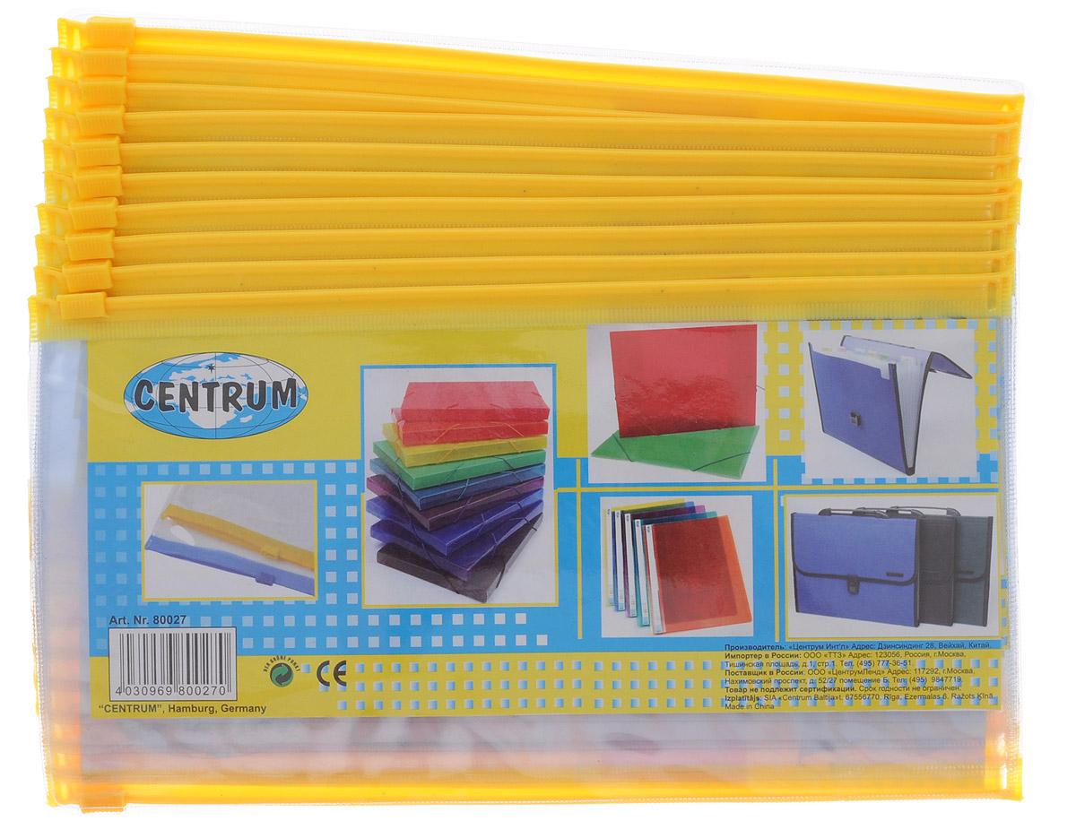 Centrum Папка-конверт на молнии цвет прозрачный желтый 20 шт86986Папка-конверт Centrum - это удобный и практичный офисный инструмент, предназначенный для хранения и транспортировки рабочих бумаг и документов формата А5.Папка изготовлена из прозрачного пластика, закрывается на практичную застежку-молнию, имеет опрятный и неброский вид. В комплект входят 20 папок. Папка-конверт - это незаменимый атрибут для студента, школьника, офисного работника. Такая папка надежно сохранит ваши документы и сбережет их от повреждений, пыли и влаги.
