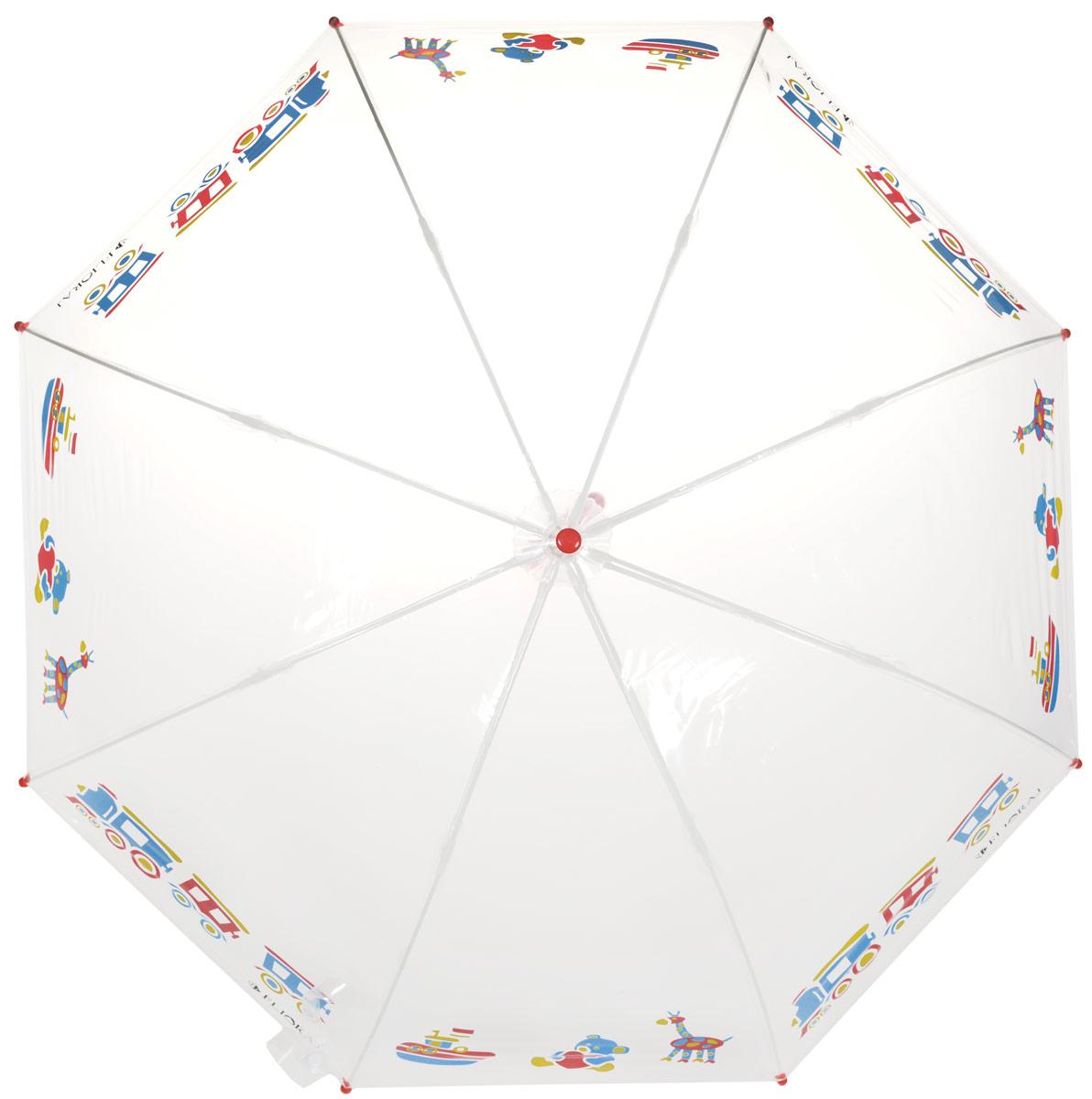 Зонт-трость детский Flioraj, механика, цвет: прозрачный, мультиколор. 051211REM12-CAM-GREENBLACKМеханический, прочный детский зонт - надежная защита в непогоду. Прозрачный купол с интересным, проявляющимся рисунком подчеркнет индивидуальность вашего ребенка. Для удобства предусмотрена безопасная технология открывания и закрывания зонта. Спицы зонта изготовлены из долговечного, но при этом легкого фибергласса, что делает его ветроустойчивым и прочным. Купол зонта выполнен из высокотехнологичного инновационного материала нового поколения ПОЭ, который не имеет посторонних запахов и не требует дополнительных обработок тальком. Зонт прозрачный, а значит, ребенок сможет контролировать обстановку вокруг себя и избегать возникновения опасных ситуаций.