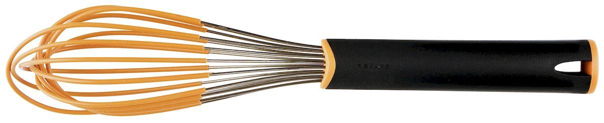 Венчик Fiskars Functional Form. 100298454 009312Венчик Fiskars Functional Form - это очень удобное и практичное изделие, которым легко и быстро смешивать ингредиенты. Венчик отлично ложится в любую посуду и смешивает нужную массу даже по ее краям. Эргономичная ручка позволяет работать длительное время, при этом ваша руке не устанет. Венчик изготовлен из нержавеющей стали, которая покрыта силиконом. Это очень удобно, так как такого вида сталь не боится влаги, а благодаря силиконовому покрытию посуда не царапается. Венчик имеет не большой вес и удобный размер. При использовании этого инструмента вы будете получать только удовольствие от приготовления пищи.