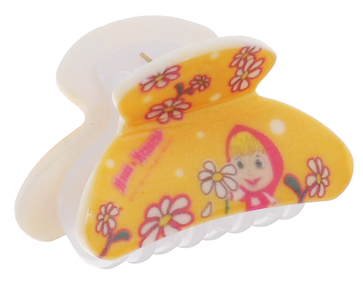 Маша и Медведь Заколка-краб для волос Ромашки цвет желтый