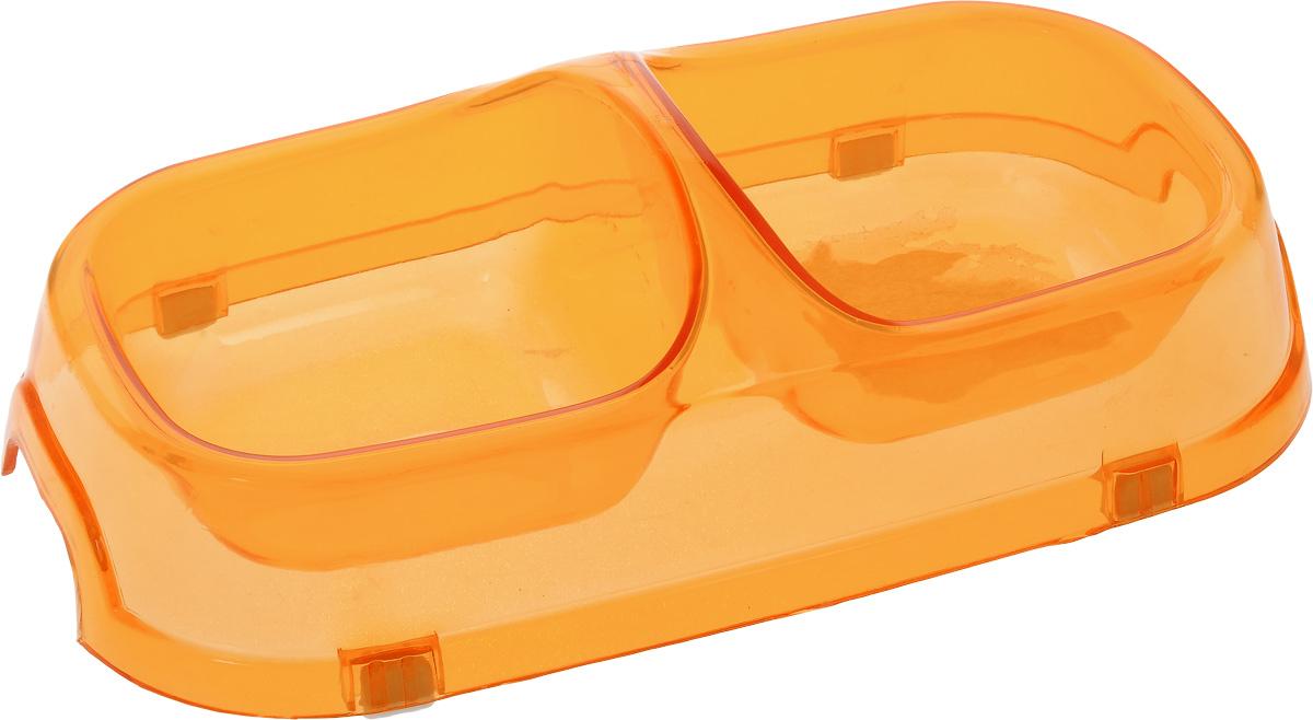 Миска для животных Каскад, двойная, цвет: прозрачный, оранжевый, 150 мл3165Двойная миска Каскад - это функциональный аксессуар для собак, кошек и грызунов. Изделие, выполненное из высококачественного цветного пластика, оснащено противоскользящими вставками. В миску можно положить два разных блюда - в каждое отделение. Яркий дизайн придаст изделию индивидуальность и удовлетворит вкус самых взыскательных зоовладельцев. Объем отделения: 150 мл. Размер отделения (по верхнему краю): 9,5 х 9,5 см. Высота отделения: 4 см. Общий размер миски: 22 х 12 х 6 см.