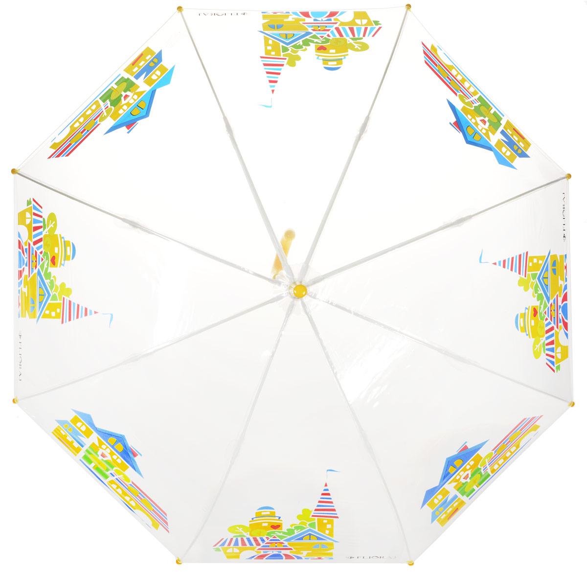 Зонт-трость детский Flioraj, механика, цвет: прозрачный, мультиколор. 051208REM12-CAM-GREENBLACKОригинальный и практичный детский зонт-трость Flioraj будет отличным подарком для вашего ребенка.Зонт состоит из восьми спиц и стержня выполненных из прочного, но легкого фибергласса. Купол выполнен из качественного ПВХ, который не пропускает воду и оформлен красочным рисунком. Зонт дополненудобной пластиковой ручкой в виде крючка. Изделие имеет механический способ сложения: и купол, и стержень открываются и закрываются вручную до характерного щелчка. Зонт закрывается хлястиком на кнопку.Зонт имеет прозрачную текстуру, что позволяет ребенку видеть обстановку вокруг себя.