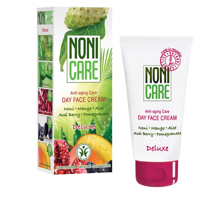 Nonicare Дневной омолаживающий крем для лица Deluxe - Day Face Cream 50 мл0861-11-5476Идеально подходит для зрелой, требующей тщательного ухода кожи. Способствует восстановлению её толщины. Устраняет причины, приводящие к визуальному старению кожи (морщины, провисание, атоничность). Стимулирует клеточные коммуникации и восстанавливает кожу с возрастными повреждениями. Уникальная комбинация витаминов и микроэлементов из сока фрукта Нони, масла миндаля, экстракта плодов пальмы Acai Berry, граната и манго обеспечивает ежедневную дневную потребность кожи в питательных, увлажняющих и защитных компонентах. Активизирует уставшую и потерявшую здоровый цвет кожу. Придает ей гладкость и мягкость, нормализует процесс деятельности сальных желез. Активизирует клетки кожи, реконструирует и восстанавливает коллаген, фибронектин и гиалуроновую кислоту.Экстракты граната и ягод асаи, являясь мощными антиоксидантами, предупреждают возрастные повреждения структуры кожи, увеличивают производство проколлагена фибробластами кожи, интенсивно увлажняют и укрепляют сосуды. Крем обладает ммуномодулирующим и защитным действием за счет высокого содержания антиоксидантов, растительных иммуномодуляторов и природных УФ фильтров. Обеспечивает интенсивный лифтинговый эффект. Средство быстро впитывается и является прекрасной основой под макияж. Рекомендован для нормального, сухого и комбинированного типов кожи с 40 лет в качестве основного ухода, с 35 лет курсами (28-30 дней). Подходит для чувствительной кожи.