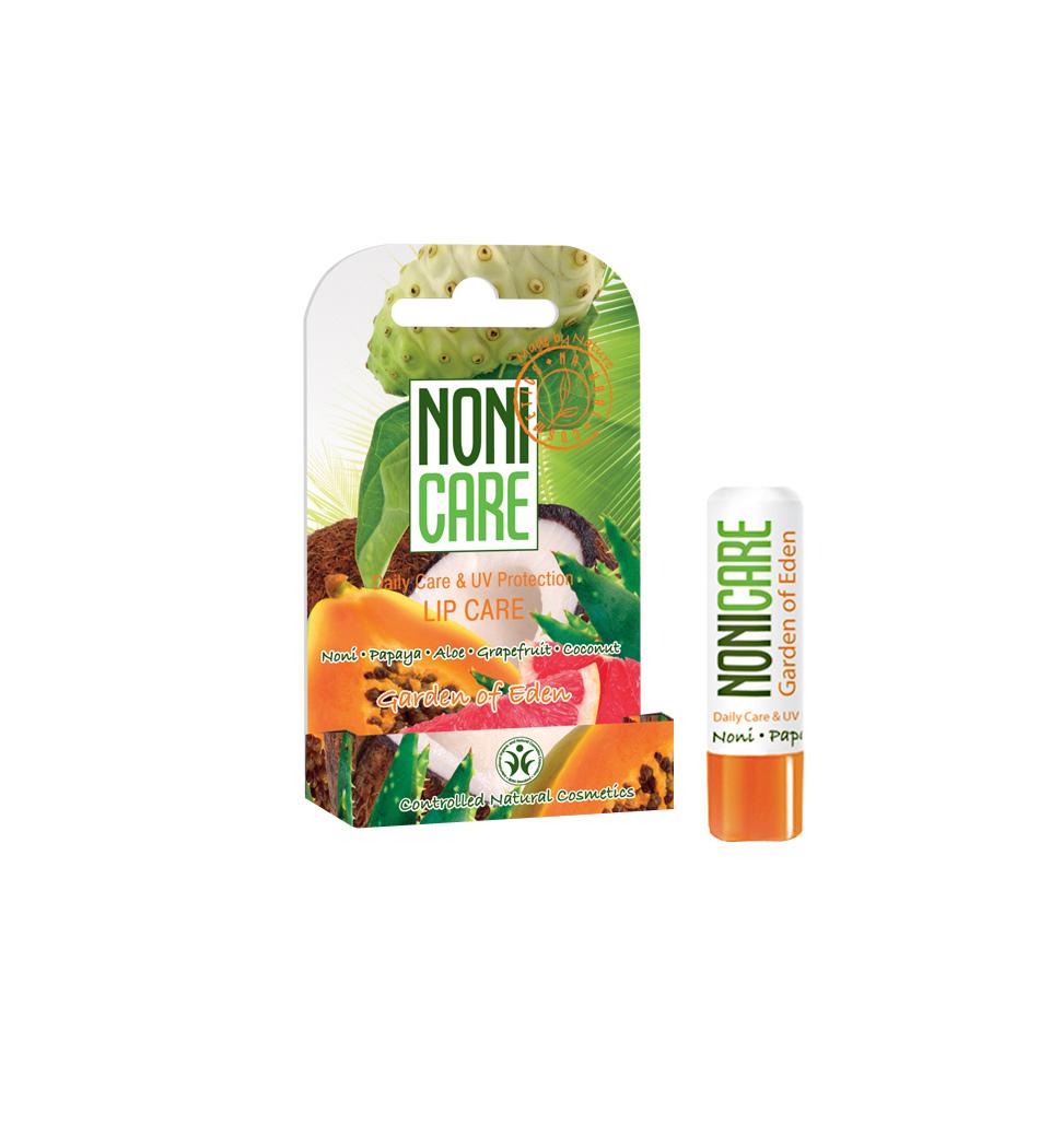 Nonicare Бальзам для губ с УФ-фильтром Garden Of Eden - Lip Care 5г72523WDБальзам эффективно защищает губы от обветривания, мороза и солнца, от пересыхания и негативного воздействия окружающей среды. Растительные фотофильтры блокируют негативное действие УФ излучения и предупреждают повреждения и возрастные изменения кожи губ (уменьшение объема губ и их сморщивание). Натуральные масла и воски создают на поверхности губ защитную пленку, интенсивно питают, увлажняют, улучшают микроциркуляцию и предотвращают появление сухости, трещинок, морщинок и заед. Масло оливы, ши и какао интенсивно питают, увлажняют и восстанавливают кожу, улучшают микроциркуляцию и придают гладкость; неитрализуют действие свободных радикалов. Экстракты ананаса и папайи, содержащие АХА кислоты и энзимы, ускоряют процесс обновления кожи, увлажняют, активизируют синтез коллагена, являются мощными антиоксидантами и проводниками других активных компонентов.Губы выглядят более гладкими, яркими и пухлыми. При ежедневном применении улучшается состояние губ и их природный цвет. Необходимое средство в любое время года. Рекомендован для ежедневного ухода за кожей губ с 12 лет.