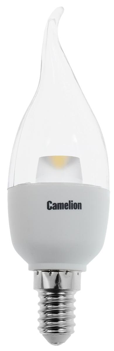 Лампа светодиодная Camelion, холодный свет, цоколь Е14, 5,5WTL-35W-F1Энергосберегающая лампа Camelion - это инновационное решение, разработанное на основе новейших суперэффективных светодиодных технологий (LED ULTRA) для эффективной замены любых видов галогенных или обыкновенных ламп накаливания во всех типах осветительных приборов. Она хорошо подойдет для создания рабочей атмосферыв производственных и общественных зданиях, спортивных и торговых залах, в офисах и учреждениях. Лампа не содержит ртути и других вредных веществ, экологически безопасна и не требует утилизации, не выделяет при работе ультрафиолетовое и инфракрасное излучение. Напряжение: 220-240 В / 50 Гц.Индекс цветопередачи (Ra): 82+.Угол светового пучка: 220°. Использовать при температуре: от -30° до +40°.