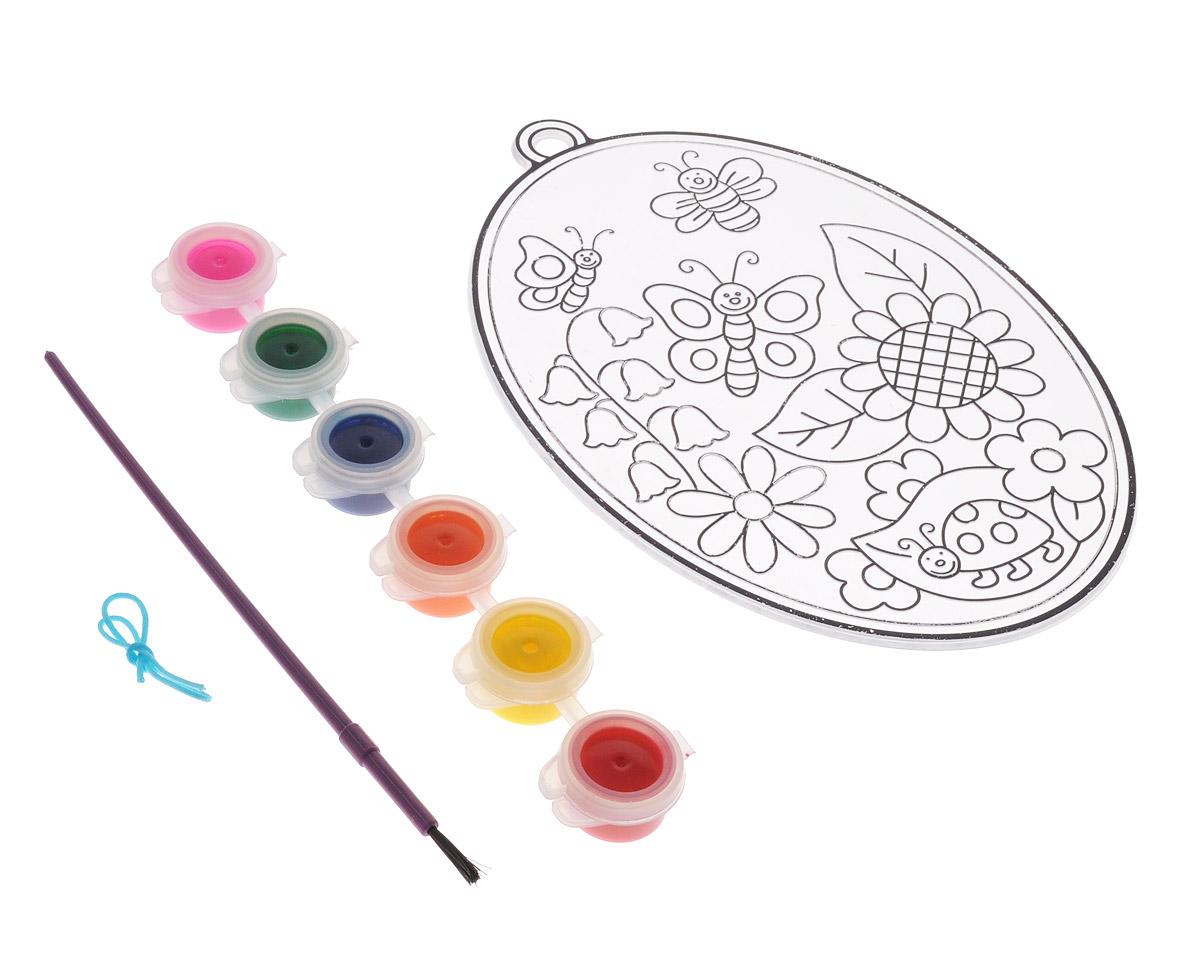 """C помощью набора для создания витража Centrum """"Луг"""" ваш малыш сможет почувствовать себя настоящим художником и своими руками раскрасить оригинальный витраж с изображением цветочного луга, над которым порхают веселые бабочки. В набор уже входит все необходимое: пластиковая основа для витража, краски 6 цветов (розовый, зеленый, синий, оранжевый, желтый, красный), кисть и шнурок. Процесс создания витража несложен и увлекателен, с ним сможет справиться даже ребенок. Аккуратно раскрасьте витраж красками так, как подскажет вам ваша фантазия, и дождитесь полного высыхания - для этого должно пройти не менее 12 часов. Великолепный витраж с изображением парящих среди цветов забавных бабочек готов! При помощи входящего в набор шнурка вы сможете поместить его на стену. Игры с набором для создания витража подарят вашему малышу массу удовольствия, и помогут развить мелкую моторику рук, аккуратность, усидчивость и художественный вкус. А готовый витраж станет оригинальным украшением..."""