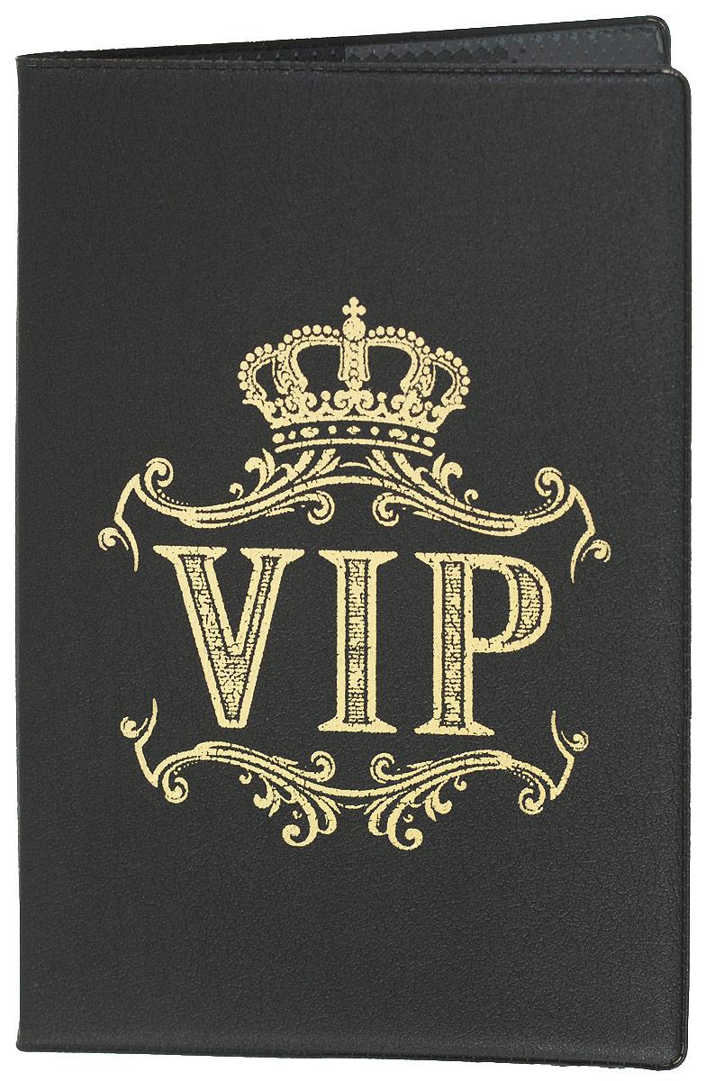 Обложка для паспорта Mitya Veselkov, цвет: черный. SPEKTR-VIPSPEKTR-VIPОригинальная обложка для паспорта Mitya Veselkov изготовлена из натуральной кожи и оформлена золотым рисунком. Изделие раскрывается пополам. Документ надежно фиксируется внутри при помощи двух прозрачных клапанов, расположенных на внутреннем развороте обложки. Обложка оформлена рисунком с изображением короны с узорами и надписью VIP. Обложка не только поможет сохранить внешний виддокументов, но и станет стильным аксессуаром, который подчеркнет ваш образ.Обложка для паспорта может стать отличным подарком.
