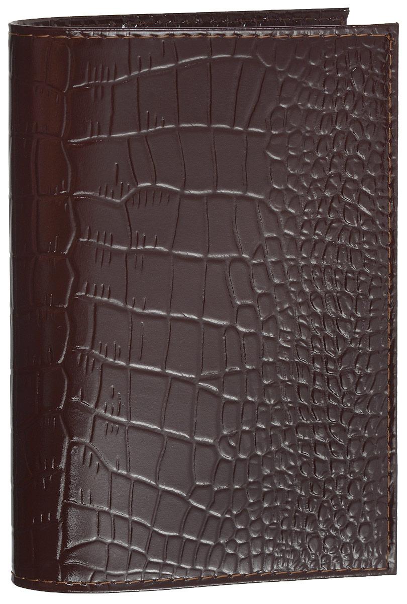 Обложка для паспорта Mitya Veselkov, цвет: темно-коричневый. SPEKTRF-BORDOSPEKTRF-BORDOОригинальная обложка для паспорта Mitya Veselkov изготовлена из натуральной кожи с тиснением под рептилию. Изделие раскрывается пополам. Документ надежно фиксируется внутри при помощи двух прозрачных клапанов, расположенных на внутреннем развороте обложки. Изделие дополнено двумя внутренними прорезными карманами для кредиток и карт. Обложка не только поможет сохранить внешний виддокументов, но и станет стильным аксессуаром, который подчеркнет ваш образ.Обложка для паспорта может стать отличным подарком.