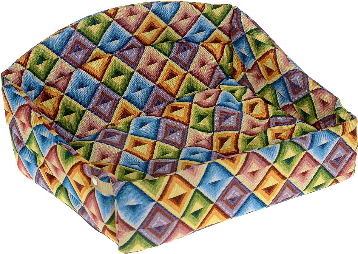 Лежак для животных Elite Valley Диван, цвет: желтый, зеленый, синий, 52 х 39 х 28 см0120710Изящный лежак Elite Valley Диван обязательно понравится вашему питомцу. Изделие выполнено из высококачественной ткани, а наполнитель - из поролона и синтепона. Лежак оснащен удобной спинкой и бортами. Передний бортик лежака можно откинуть или зафиксировать вертикально при помощи заклепок. Внутри лежака имеется мягкая съемная подстилка. Ваш любимец сразу же захочет забраться на лежак, там он сможет отдохнуть и подремать в свое удовольствие.Компактные размеры позволят поместить лежак где угодно, а приятная цветовая гамма сделает его оригинальным дополнением к любому интерьеру.Высота лежака (с учетом спинки): 28 см.